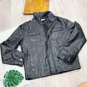 Calvin Klein Black Leather Zip Motorcycle Jacket